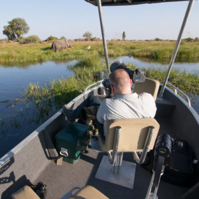 Getting those unique angles and perspectives from the Duba Plains photographic boat